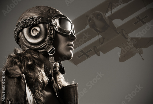 Canvas Print Woman aviator: fashion model portrait