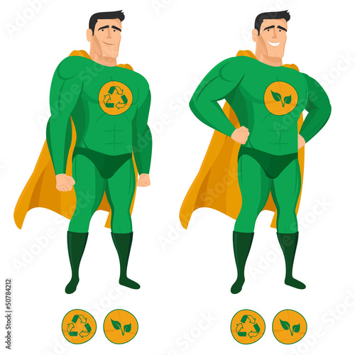Foto op Canvas Superheroes Recycle superhero in green uniform with a cape
