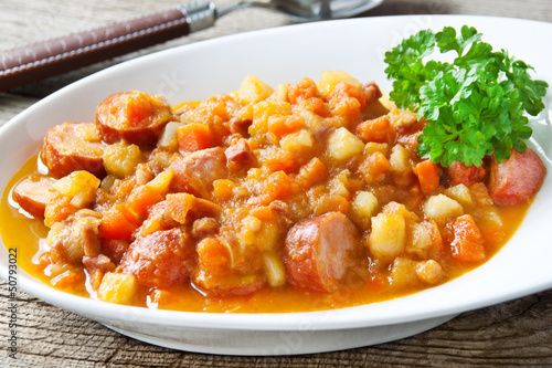 Kartoffel Karotten Eintopf Mit Mettwurst Buy This Stock Photo