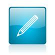 pencil blue square web glossy icon