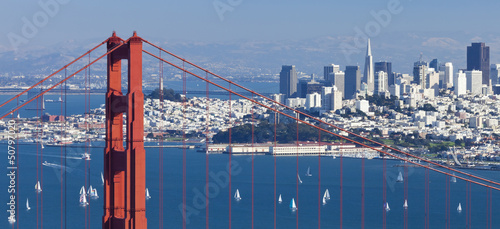 Fotobehang San Francisco San Francisco Panorama w the Golden Gate bridge