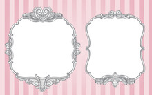 Ornate Vintage Frames On Pink Background