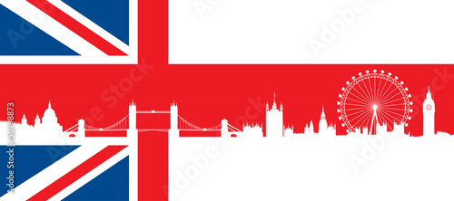 British flag  with very detailed  silhouette London skyline Wallpaper Mural