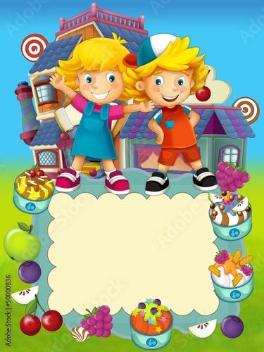 Cadres-photo bureau Cosmos The group of happy preschool kids - cover