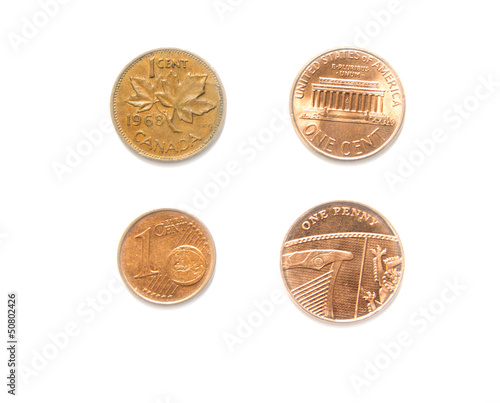 4 Currencies One Cent Usa Canadian Euro Penny Coins Buy This Stock Photo And Explore Similar Images At Adobe Stock Adobe Stock