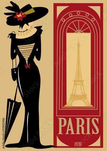 Poster  paris, rétro, personnage, mode, tour Eiffel, ville, robe