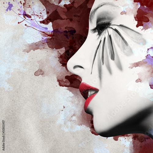 piekny-kobieta-profil-z-grunge-tlem