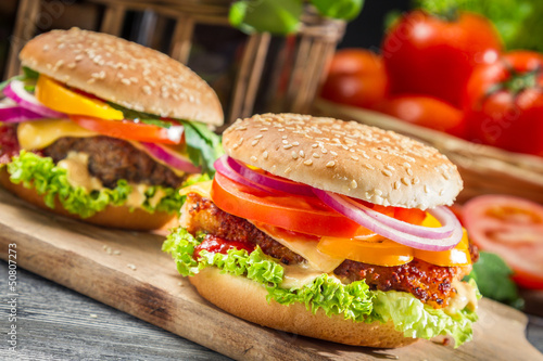 Fototapety, obrazy: Closeup of two homemade hamburgers
