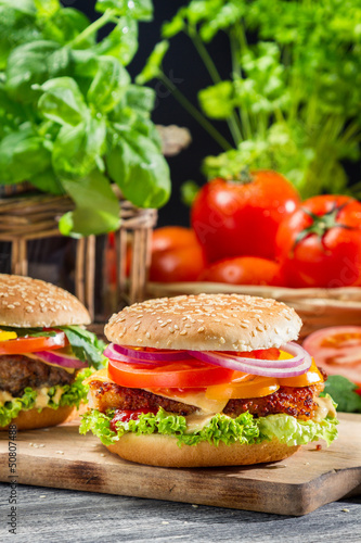 Fototapety, obrazy: Two homemade hamburgers made from fresh vegetables