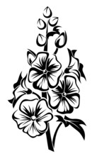 Black Silhouette Of Mallow Flowers. Vector Illustration.