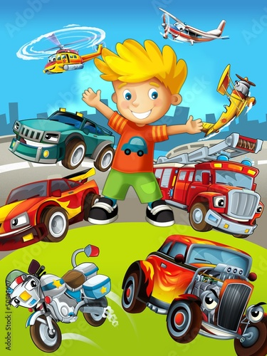 Poster de jardin Voitures enfants The vehicles - the label with kid - illustration