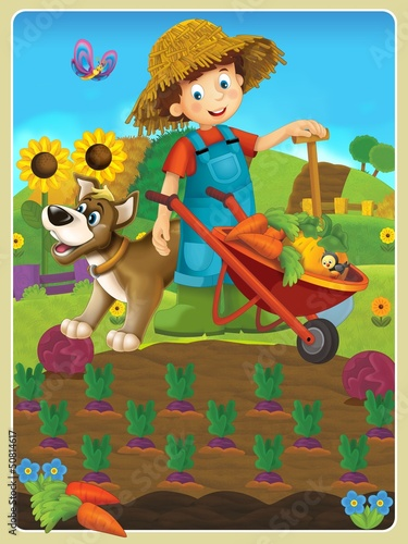 Tuinposter Boerderij On the farm - the happy illustration for the children