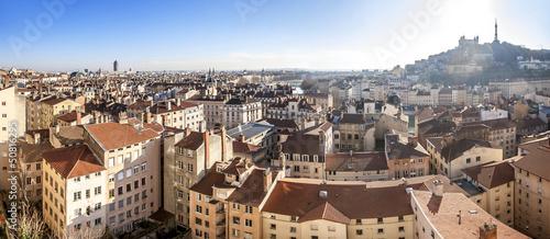 Valokuva  Panorama de la ville de Lyon de Fourvière au crayon