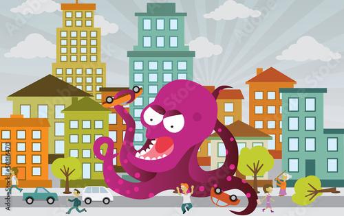 Foto op Canvas Schepselen Alien is attacking the city