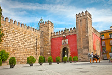 Gate To Real Alcazar Gardens In Seville.  Andalusia, Spain.