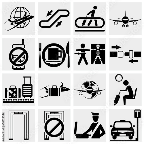 Airport vector icons set. Elegant series icons and signs Wallpaper Mural