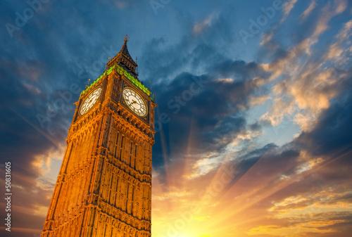London, Wonderful upward view of Big Ben Tower and Clock at suns Canvas Print