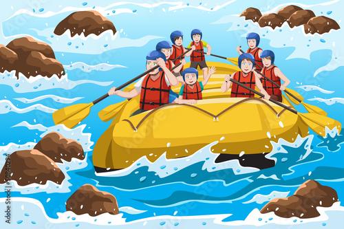 Canvas Prints River, lake people rafting