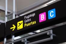 Boarding Gate Sign, Malaga Air...