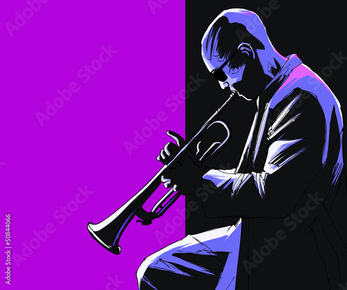 Photo sur Toile Art Studio Trumpet player