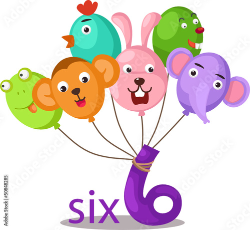 Photo Stands Butterflies number 6 character with balloons