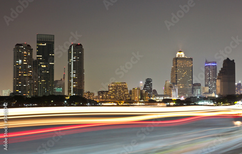 Photo Stands Beijing Buildings along the river at night. The view from Asiatique. Att
