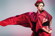 Fashion Asian Woman Wearing Traditional Japanese Red Kimono