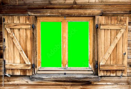 mountain hut window green screen Fototapet