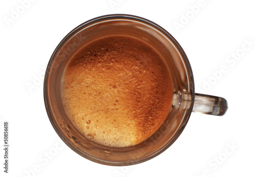 Foto op Plexiglas Chocolade A cup of coffee on a white background
