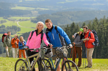 Sporty Cyclist Couple Hikers S...