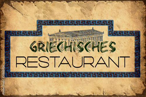 Photo Stands Vintage Poster Retroplakat - Griechisches Restaurant