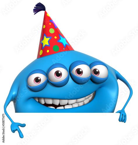 Poster de jardin Doux monstres 3d cartoon birthday monster
