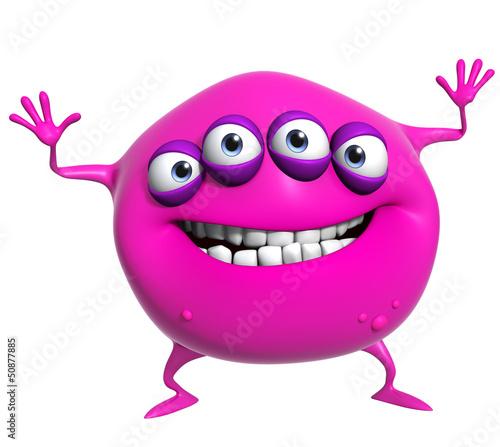 Garden Poster Sweet Monsters 3d cartoon pink monster
