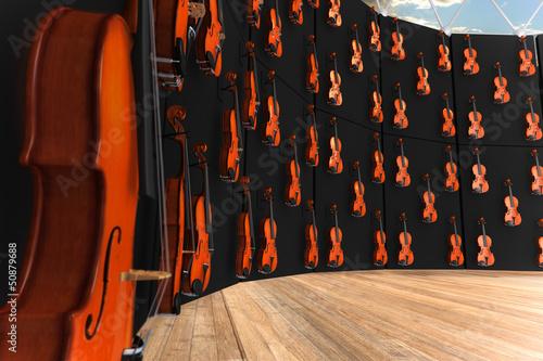 Spoed Foto op Canvas Muziekwinkel Violins hung on the wall