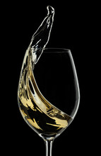White Wine Splash On Black Bac...