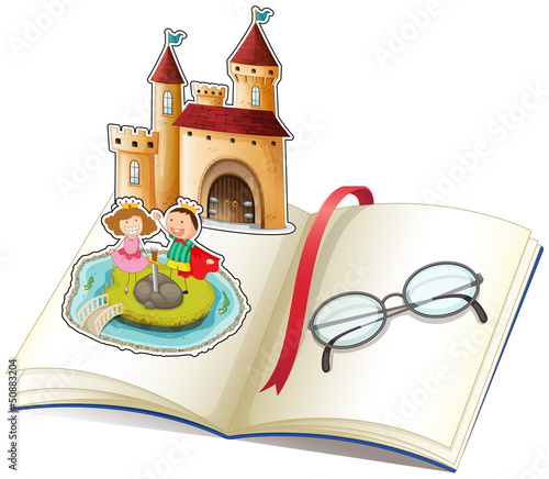 Poster Castle A book with a castle and a reading glasses