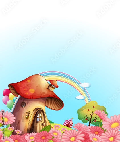 Foto op Canvas Magische wereld A mushroom house above the hill with a garden
