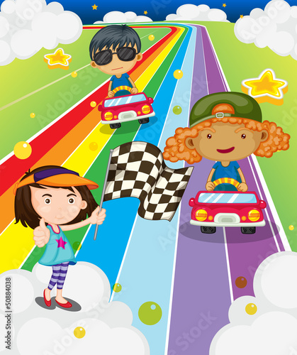 In de dag Regenboog A car race at the colorful road