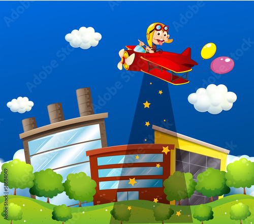 In de dag Vliegtuigen, ballon A monkey riding in an aircraft above the buildings