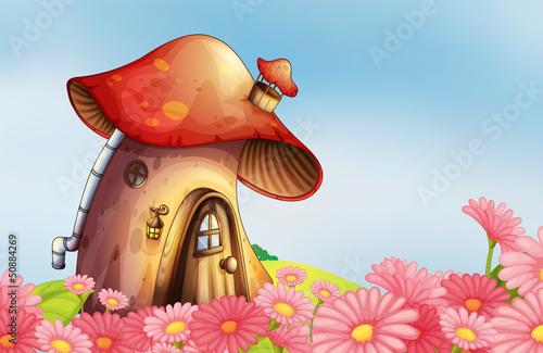 Poster Magic world A garden with a mushroom house
