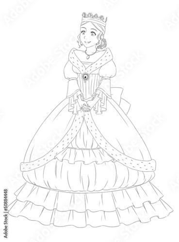 strona-z-cwiczeniami-dla-dzieci-kolorowanka-krolewna-ksiezniczka-w-pieknej-sukni