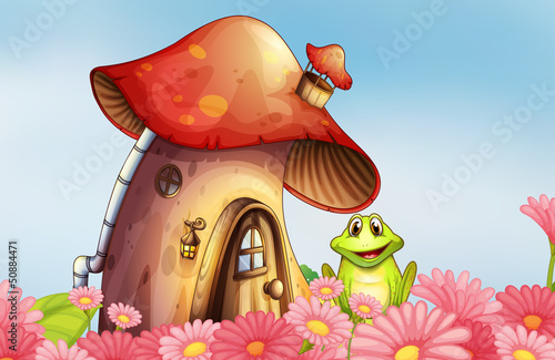 Foto op Plexiglas Magische wereld A frog near the mushroom house with a garden of flowers