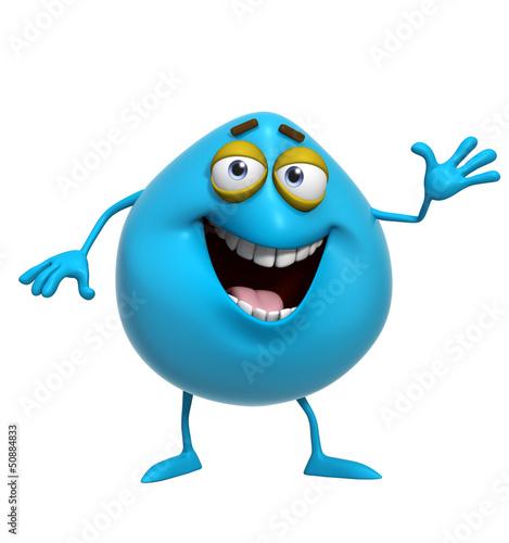 Garden Poster Sweet Monsters 3d cartoon cute blue monster