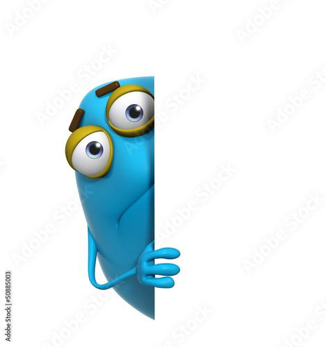 Foto op Aluminium Sweet Monsters 3d cartoon cute blue monster