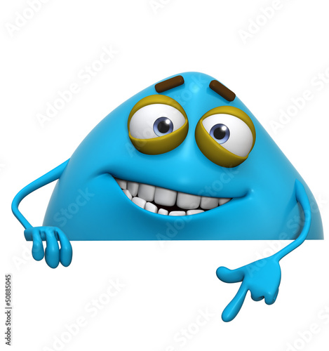 Poster de jardin Doux monstres 3d cartoon cute blue monster