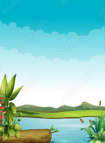 Canvas Prints River, lake A river with plants and a wood