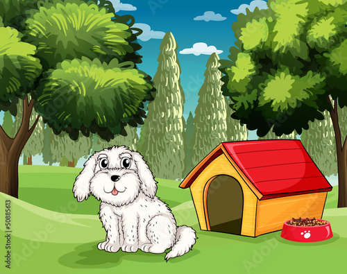 Tuinposter Honden A white puppy outside his doghouse