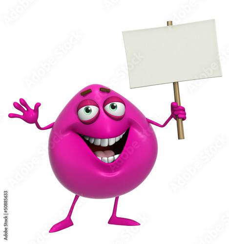 Garden Poster Sweet Monsters 3d cartoon cute pink monster holding placard
