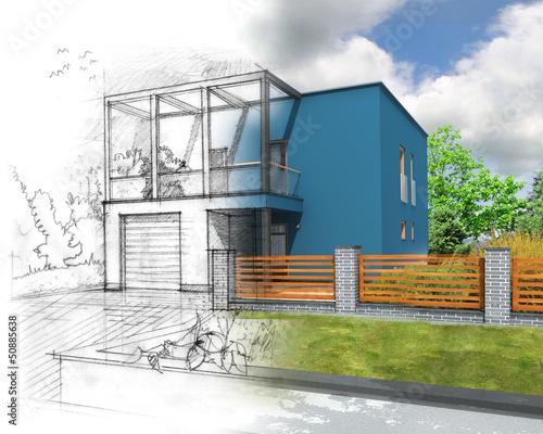 ilustracja-pomyslu-niebieskiego-nowoczesnego-budowy-domu