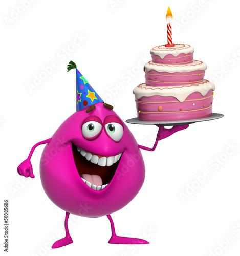 Foto op Aluminium Sweet Monsters 3d cartoon cute pink monster with cake